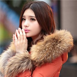 Wholesale Hooded Scarf Fur - HOT Winter Warm Women's Fashion Real Fur Collar Scarves 100% Genuine Raccoon Fur Scarf Trim of Down Coat Strip Hooded