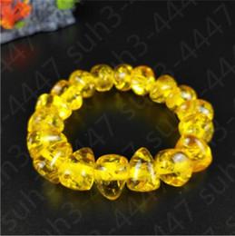 2019 tibet bernstein silber armband Natürliche gelbe Bernstein elastische Bead Armband Mode Charme Schmuck Glücks Amulett günstig tibet bernstein silber armband