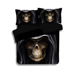 king size skull bedding Sconti Biancheria da letto per bambini in lino 3D Biancheria da letto matrimoniale per bambini Set copripiumino nero Biancheria da letto matrimoniale king size