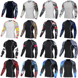 Wholesale Arm Stretch - Arm tattoo dazzle KuTu case quick-drying fitness clothing male t-shirts basketball workout clothes stretch running compression garments