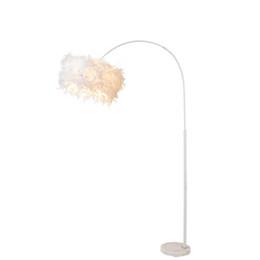 lâmpadas de chão para piano Desconto OOVOV Pena Branca Sala de estar Lâmpada de Assoalho Do Quarto Criativo Luzes de Piso Chão Luzes de Piano Curvar Sobre a Lâmpada de Assoalho