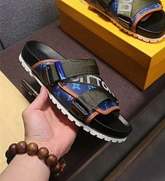 Wholesale Micro Man - NEWEST ! Branded Men Canvas Strap Reflective Textile Honolulu Mule Slipper Designer Scuffs Mix Patchwork Micro Outsole Slide Sandal