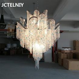 Designer-club-beleuchtung online-Moderne Luxuskristallkettenleuchterwohnzimmerdekoration LED-Lampenduplexbauprojekthotel-Verein-Designerbeleuchtung