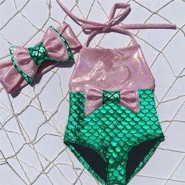 Wholesale swimsuit sequin - Fashion girls kids mermaid fancy bow sequins swimmable 2pcs bikini set swimwear swimsuit baby girls bathing suit