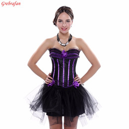 Wholesale Acrylic Trimmer - Ladies Evening Clubbing Stripe Corset Ruffle Trim Hen Padded Cup Bustier with Skirt Free shipping