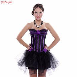 Canada Ladies Evening Clubbing Stripe Corset Ruffle Trim Hen Padded Cup Bustier avec jupe Livraison gratuite cheap clubbing corset Offre