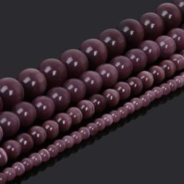 2019 perles oeil de chat violet 8mm Choisissez la taille 4.6.8.10MM lisse violet opale mexicaine oeil de chat perles pierre naturelle Spacer perles lâches 15.5