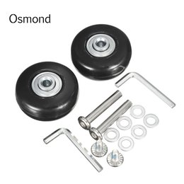 Wholesale Luggage Id - Osmond 43X17mm 1 Pair Luggage Suitcase Replacement Wheels OD 43 ID 6 W 18 Axles 35 Repair Set Rubber Luggage Wheels