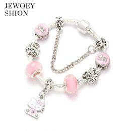2061faa60 hello kitty charm bracelet Canada - JEWOEY SHION Fashion high-end custom  pink cute Hello