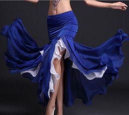 Gonna di danza del ventre delle donne Tribal Lotus Edge Dancer Costumes Maxi Skirt Abito a sirena Viola Royal Blue Rosso Bianco Spedizione gratuita cheap royal blue maxi skirts da gonne maxi blu royal fornitori