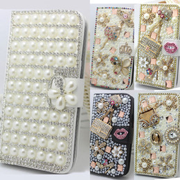 Wholesale Galaxy S4 Mini Flip Covers - Bling Crystal Diamonds Pearls Pu Leather Flip Slots Stand Wallet Case Cover Mini Handbag For Samsung Galaxy S3 S4 S5 S6 S7 Edge