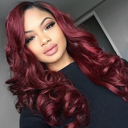Wholesale dark wine brown hair - Two Tone Ombre Burgundy Full Lace Human Hair Wigs T1b 99j Loose Wavy Peruvian Virgin Hair Wine Red Glueless Lace Front Wigs