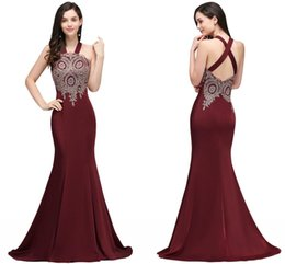 empire beaded halter prom dress Promo Codes - Burgundy Mermaid Lace Appliqued Beaded Prom Dresses Sexy Halter Criss-Cross Back Evening Gowns Cheap Special Formal Party Wear CPS718