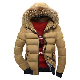 Cuello de piel abrigo hombres 4xl online-Chaqueta de algodón de invierno para hombre 2018 Nueva chaqueta de cuello de piel grande para hombre Parkas grueso cálido para hombre Jaqueta Masculina Multi color abrigos