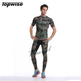 Wholesale Tight Shirts Sport For Men - Men Camouflage Running Set Compression Suit T Shirt Fitness Leggings For Running Gym Training Sport Tights Sets Fitness Wear