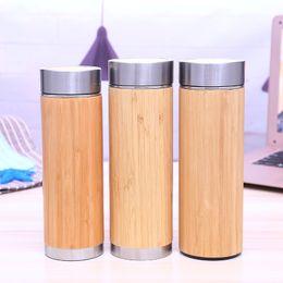 Filtro di bambù online-Tazza per l'isolamento della tazza di vuoto dell'acciaio inossidabile della bottiglia di acqua di bambù con il filtro dell'infusore del tè 350ML 450ML tazza di bambù