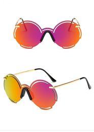 Lunettes de soleil à lunette en Ligne-Nouvelle arrivée mode ronde dégradé  lentille lunettes de 1f97affbb907