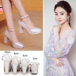 Wholesale Chunky Heel Silver Shoes - Crystal shoes Wedding Female Rhinestone Hot Elegant Bridal Platform Silver Chunky heel Diamond Sequins Sparkling Princess shoes
