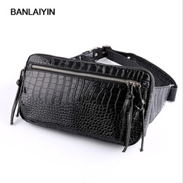 2019 bolso de cuero de la cadera de los hombres Nice New Men PU Leather Crocodile Grain Hip Belt Fanny Pack Bag Waist Purse Chest Pack rebajas bolso de cuero de la cadera de los hombres
