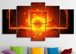 kreis gemälde leinwand Rabatt Leinwand Bilder Home Decor Room 5 Stück Feuer Basketball Kreis Rückenbrett Gemälde HD Prints Sport Poster Wandkunst Rahmen