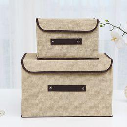 0123b52803 Storage Bins Cotton   Liene Storage Box With Cap 2 Size Clothes Socks Toy  Snacks Sundries Oraganier Set organizer Cosmetics Household