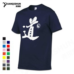 """Wholesale Chinese Roads - YUANQISHUN 2018 China Style Boutique Tshirt Chinese Calligraphy """"Road"""" Word Printing T-shirt Taiji Bagua Map Cotton Top Tee Street Hip-hop"""