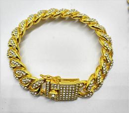 Pulsera de eslabones de cadena de diamantes online-Mens Lujo Iced Out Diamond Pulseras de Moda Brazaletes de Oro de Gran Calidad Cadena de Eslabones Cubanos Miami Pulsera Hip Hop Joyería