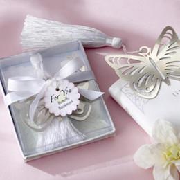 500 unids Mariposa de Metal Plateado Marcador Marcadores de Favoritos Borlas blancas de la boda decoración del partido de la ducha de bebé favorece los regalos de Regalo Envío Gratis desde fabricantes