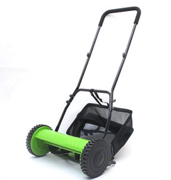Wholesale Garden Mowers - Hand push 16 inch lawn mower manual gardening tool lawnmower with straw bag drum grass mower garden trimmer too LLFA