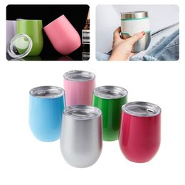 Wholesale Multi Shape - Fashion Egg Shape 12 OZ Mug Cup Powder Coated 304 Stainless Steel Beer Wine Glass Pot-bellied Cup DDA370