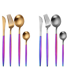 Wholesale flatware forks - 1 Pcs 304 Stainless Steel Flatware Dinnerware Cutlery Rainbow Handle Golden Silver Fork Spoon Teaspoon Knife DDA677