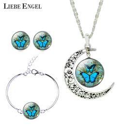 LIEBE ENGEL старинные Макси ожерелье наборы бабочка фотография Луна заявление ожерелье серьги браслет Браслет наборы для женщин от