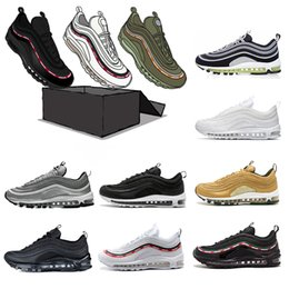 Wholesale fall japan - New 2018 Cushion 97 Running Shoes Silver Bullet Triple White Balck Metallic Gold japan pink mens women Sport Sneakers size 36-45