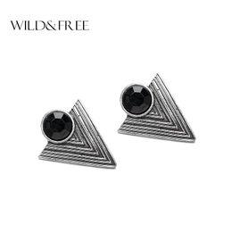 Wholesale triangle shape earrings studs - Women Vintage Black Triangle Stud Earrings With Resin Beads Antique Silver Geometric Shape Stud Earrings Jewelry for Women