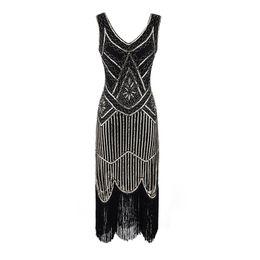 vestido de noche de bodas blanco largo Rebajas Vestido de fiesta de mujer Robe Femme 1920s Gran Gatsby Flapper lentejuelas vestido de flecos con cuentas borla