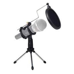 Soporte de escritorio plegable online-Trípode universal plegable plegable del escritorio del micrófono para la grabación video del ordenador con la cubierta del filtro del estallido del filtro del micrófono