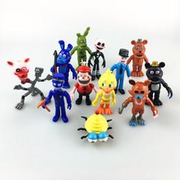 Varejo 12 PCS 10CM Freddy Fazbear, Cinco Noites no Anime Estatueta do Fox de Fox Foxy the Pirate Fox, Chica a Frango Boneca Presentes de Natal T11 de Fornecedores de ferro brinquedo homem azul