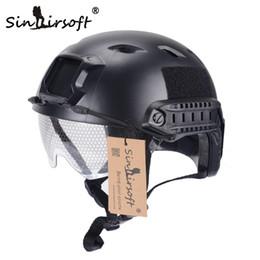casco del ejército del airsoft Rebajas SINAIRSOFT FAST Casco con gafas protectoras BJ Type Airsoft Casco táctico Army Casco Paintball