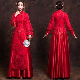11709e159b High Quality China Traditional Show bride dress clothes chinese style  Wedding gown red evening vintage dress formal kimono Dress