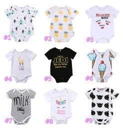 Wholesale black white striped clothing - Newborn Baby Boys Girls Cotton Onesies Romper Striped Llama Kiss Letter Print Jumpsuit Bodysuit Playsuit Clothes Baby Clothes Kids Clothing
