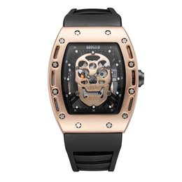 Wholesale Tonneau Skeleton Watch - aaa luxury mens watches Human skeleton 2018 new man watch waterproof skull table's hollow luminous quartz watch