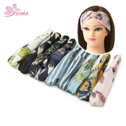 Wholesale european headbands - XIMA 9PCS 2018 Trendy European Women Hair Accessories Spring Summer Floral Chiffon Infantile Cross Wide Bands Turban