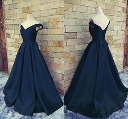 Wholesale Orange Corset Homecoming Dresses - 2018 Real Image Navy Blue Cheap Prom Dresses Off Shoulder V Neck Ruched Satin Floor Length Corset Lace Up Backless Homecoming Party Dresses