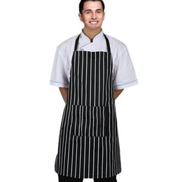 Wholesale Chef Aprons Wholesale - Adjustable Black Stripe Bib Apron With 2 Pockets Chef Kitchen Cook Tool