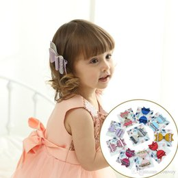 Wholesale glitter clips - Baby Double-deck Glittering Leather hairpin Bow Clips Girls Large Bowknot Barrette Kids Hair Boutique Bows Children Hair Accessories KFJ202