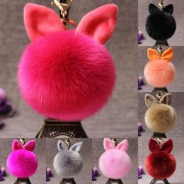 Wholesale Fluffy Bunny - Wholesale Fluffy Bunny Toys Ear Keychain 18 Styles Rabbit Key Chain Fur Woman Bag Charms Keyring Pom Pom Car Pendant Keyrings Jewelry D316Q