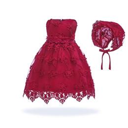 Livraison gratuite coton doublure robes pour bébés 2018 nouveau design ivoire robe de bébé pour 1 an fille anniversaire fête des tout-petits robe de fête avec chapeau ? partir de fabricateur