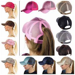 Wholesale Wholesale White Caps - CC Glitter Ponytail Hat Messy Bun Ponycap Glitter Mesh Baseball Cap Sequin CC Softball Hats 7 Colors