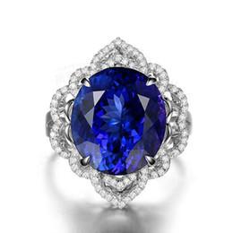 Safira azul oval on-line-Derongems_Luxury Oval Tanzanite Sapphire Gemstone Moda Anéis_S925 Sterling Silver Blue Stones Mulher Finger Rings_Facotry Diretamente Vendas