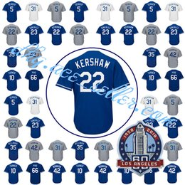 Wholesale Kershaw Jersey - Men's 22 Clayton Kershaw 42 35 Cody Bellinger 5 Corey Seager 66 Yasiel Puig 10 Justin Turner 23 Adrian Gonzalez 60th Patch Stitched Jersey
